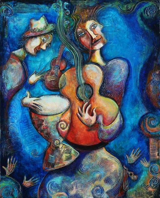 Painting title Music Magic by Mary DeLave illustrating poem titled Ovation by H. Hennenburg