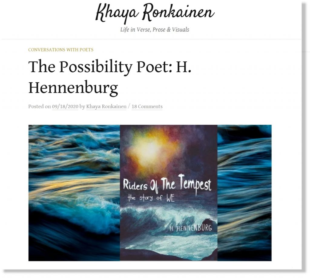 Screenshot of H. Hennenburg Interview Post at Khaya Ronkainen Blog